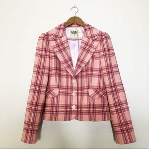 Juicy Couture Vintage 90s Pink Plaid Blazer Large